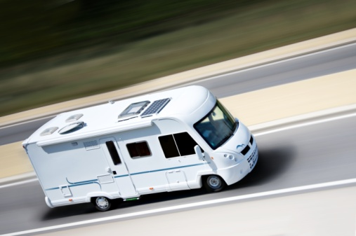 rv driving down road